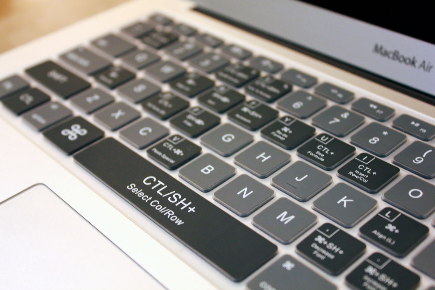 clean gray excel keyboard cover keycuts