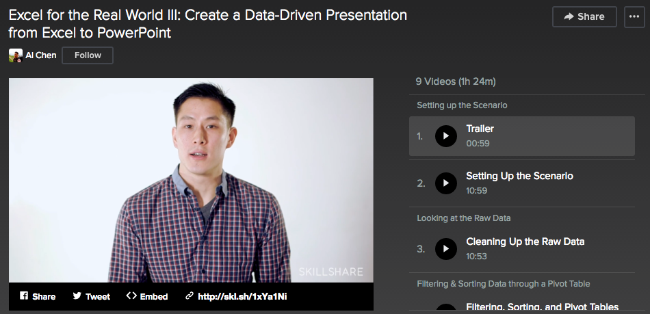 Skillshare Excel for the Real World III: Create a Data-Driven Presentation from Excel to PowerPoint